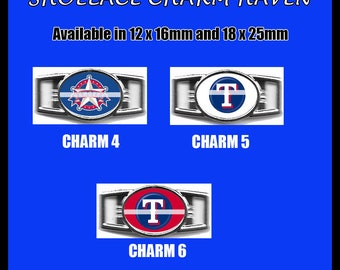 TEXAS RANGERS Shoelace Charm  Paracord Bracelet Charm Oval Charm 12 x 16mm or 18 x 25mm Charms