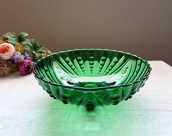 Anchor Hocking Burple Serving Bowl, Forest Green, Bubble / Burple Footed Bowl, Mid Century Glassware, Vintage Art Deco-style Glass Bowl