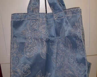 Blue and white shopping bag
