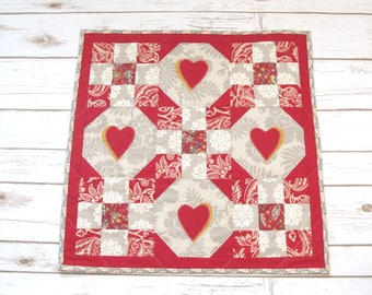 Quilted Table Topper - Square Table Quilt - Quilt Decor - Quilt Wall Hanging - Wall Quilt - Table Runner Quilt - Gift from the heart