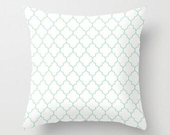 Mint Pillow - Velveteen Pillow - Quatrefoil Pillow - Green Pillow - Girls Room Decor - Teen Room Decor - Dorm Decor - Mint Cushion