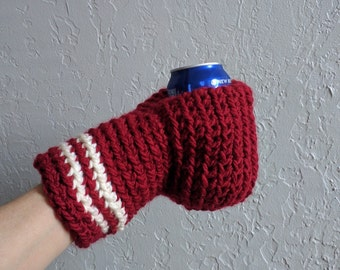 Beer Mitten / Beer Glove / Drinking Glove / Maroon and White / Beer Gift / Tailgating / Ice Fishing / School Colors / Team Colors
