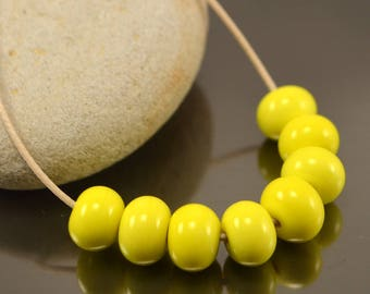 handmade lampwork spacer beads jewelry supplies jewelry making small colorful lampwork beads yellow beads sets glass donut lamp baby beads