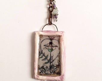 Handmade Ceramic Pendant With Original Art