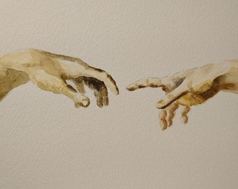 Study of Hands Creation of Life Hands watercolour