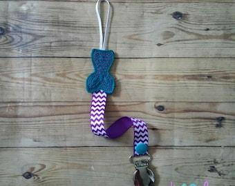 Feltie Pacifier Holder--Mermaid Tail--Purple and Teal