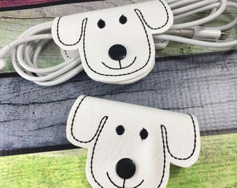 Cord wraps - cord organizers - pupply face cord wrap - phone accessories - ear bud cord wraps - gifts for teens - desk accessories -2 pack