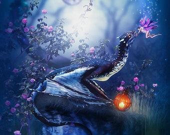 Dragon art print, Dragon picture, Dragon poster, dragon and fairy, dragon decor, dragon wall art, fairy decor,fairy print, fairy poster