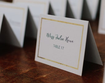 Gold Border Place Cards - Printable Template, Digital File with Faux Gold Foil Accent for Weddings, Parties, Showers
