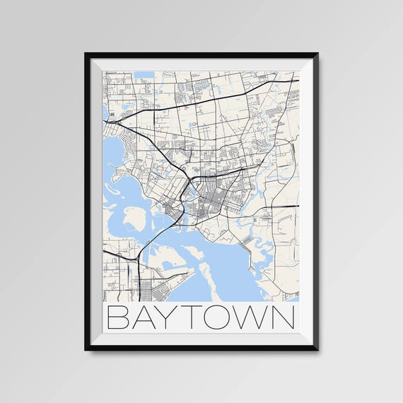 BAYTOWN Texas Map Baytown City Map Print Baytown Map Poster
