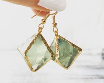 Green Fluorite Gemstone Earrings, Geode Earrings, Gold Earrings, Gemstone earrings, Raw Crystal Earrings, Electrofotmed, Crystal Earring