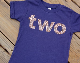 Woodland Second Birthday Shirt, Second Birthday Shirt, Bark Birthday Shirt, Two Shirt, Size 2 Ready to Ship, Camouflage Birthday Shirt
