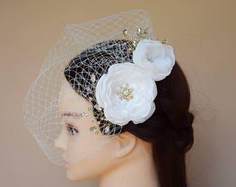 Wedding Veil, Birdcage Veil, Bridal Headpiece, Short Tulle Veil, Bridal Hair Flower, Wedding Hair Clip, Rhinestone Jewelry, Wedding Gift