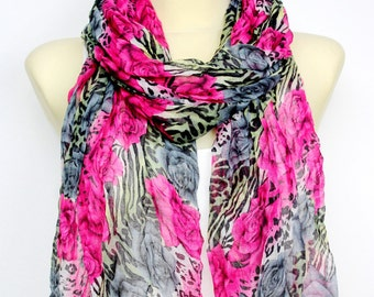 Pink Scarf Women Long Boho Scarf Leopard Print Scarf Spring Scarves for Women Bohemian Scarves Animal Print Scarf Gifts for Mom Gift