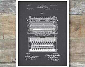 Patent Prints, Typewriter Wall Art, Patent Art, Typewriter Patent Poster, Typewriter Blueprint, Typewriter Patent Print, P86