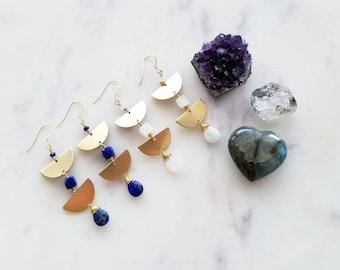 Brielle Gemstone & Brass Crescent Drop Earrings