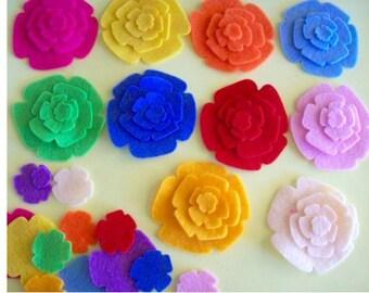 felt flowers for applique, scrapbooking, hair clippies, fabric flowers, felt