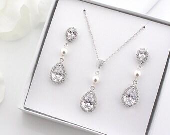 Swarovski Pearl Wedding Earrings, Bridal Earrings + Necklace SET, Crystal Teardrop Earrings, Bridesmaids Gift, Bridesmaid Gift Set S3024