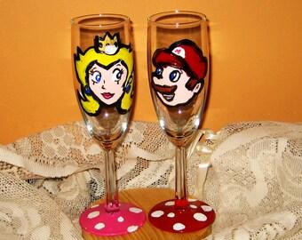 Mario and Princess Peach/ Retro Nintendo Wedding Toast Glasses /Nerd Wedding/ Gamer Wedding/ Custom Made/ Personalize at no Extra Charge