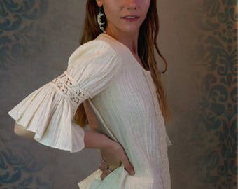 Antique lace Mexican bridal suit /exceptional authentic one-off wedding outfit /embroidery pintucks ruffles / ecru cotton full skirt and top