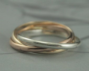 Tri Color Rolling Ring~2mm Wide Intertwined Bands~Silver, Rose Gold and Yellow Gold~Solid 10K or 14K Gold and Silver~Russian Wedding Band