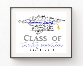 Personalized Graduation Gift, Class of 2017, College Graduation Gift, High School Graduation Gift, Graduation Gift for Her, Gift for Him
