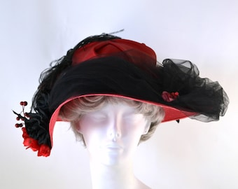 Vintage Red and Black Statement Derby Straw Hat by La Belle Chapeau