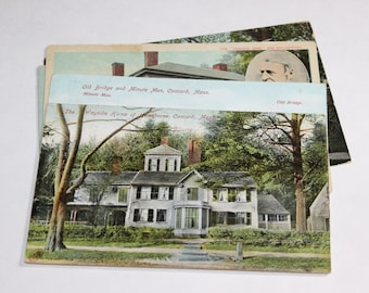 5 Vintage Concord Massachusetts Postcards Used