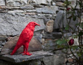 Crow Bird, Red Animal Bird, Paper Mache Art, Red Bird, Black Crow Figurine, Recycled Gift, Bird Sculpture, Bird Lover Gift, Gift Idea