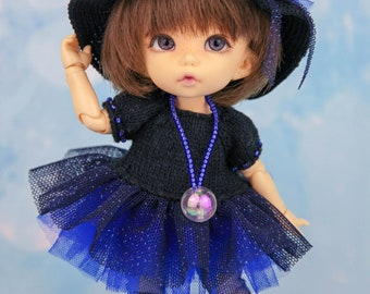"""OOAK Halloween outfits """"Little witch"""" (hat, sweater, skirt, tights, magic bag) for Pukifee, Lati Yellow and similar 1/8 bjd dolls"""