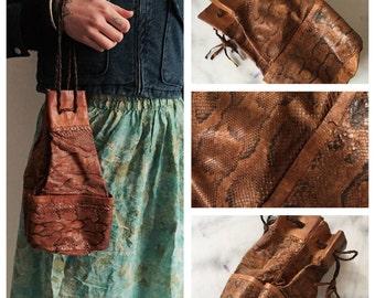 Bag purse vintage 70's leather and genuine snakeskin