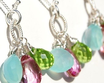 Bridesmaid Necklace, Aqua, Pink, Green, Sterling Silver, Wire Wrapped Hibiscus Flower, Gemstones