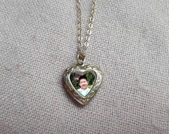 Heart locket Necklace, Personalized photo necklace, Heart Locket pendant, Family photo necklace