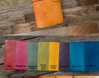For large Moleskine notebooks~Leather Journal Cover~Personalized ~Refillable :  Holds 4 large cahier, 5 x 8.25 notebooks, 15 colors