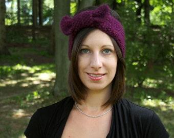 Purple Knit Headband with Bow - Handknit Tunisian Earwarmers - Knitted Purple Head Band - Winter Hair Accessory - Boho Vegan Headband
