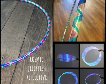 Cosmic Jellyfish Reflective Hula Hoop: (5/8,11/16, 3/4 Poly/HDPE) w/ Free Crystal Clear Protection Tape!