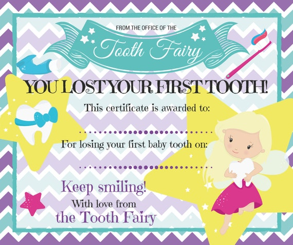 Tooth fairy certificate for losing first baby tooth yelopaper Image collections