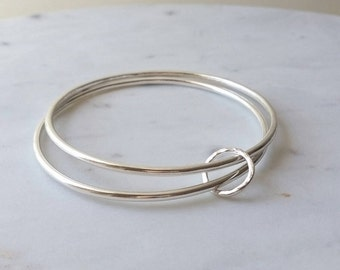 Sterling Silver Bracelet,  Bangle. Double bangle with textured loop