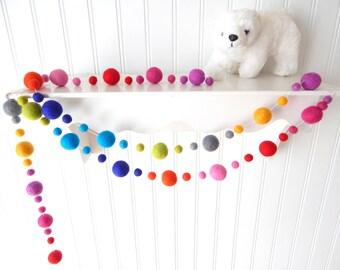 Garland, Rainbow Garland, Felt Ball Garland, Birthday Garland, Pom Pom Garland, Nursery Decor, Party Garland, Neon Bunting, Baby Nursery