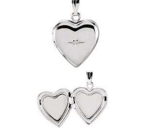 SILVER HEART LOCKET Necklace, sterling silver heart locket. silver heart locket, locket necklace, custom engraved locket, diamond locket
