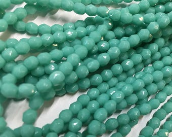 Green Turquoise Opaque Preciosa Czech Glass Fire polished Crystal Beads 4mm 50 beads