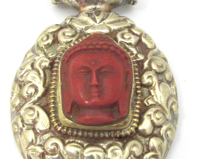 1 Pendant - Large Tibetan antiqued silvercolor j red Buddha pendant with Lotus flower carving  - PM336D