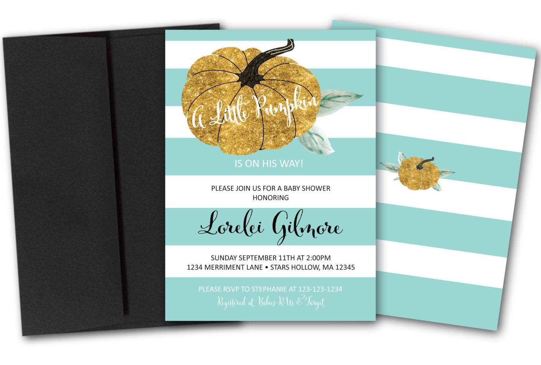 Pumpkin Baby Shower Invitation // Gold Glitter // Little Pumpkin ...
