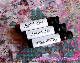 Steampunk Gals Perfume Sampler set of THREE VIALS, Victorian Perfume, Steampunk Perfume