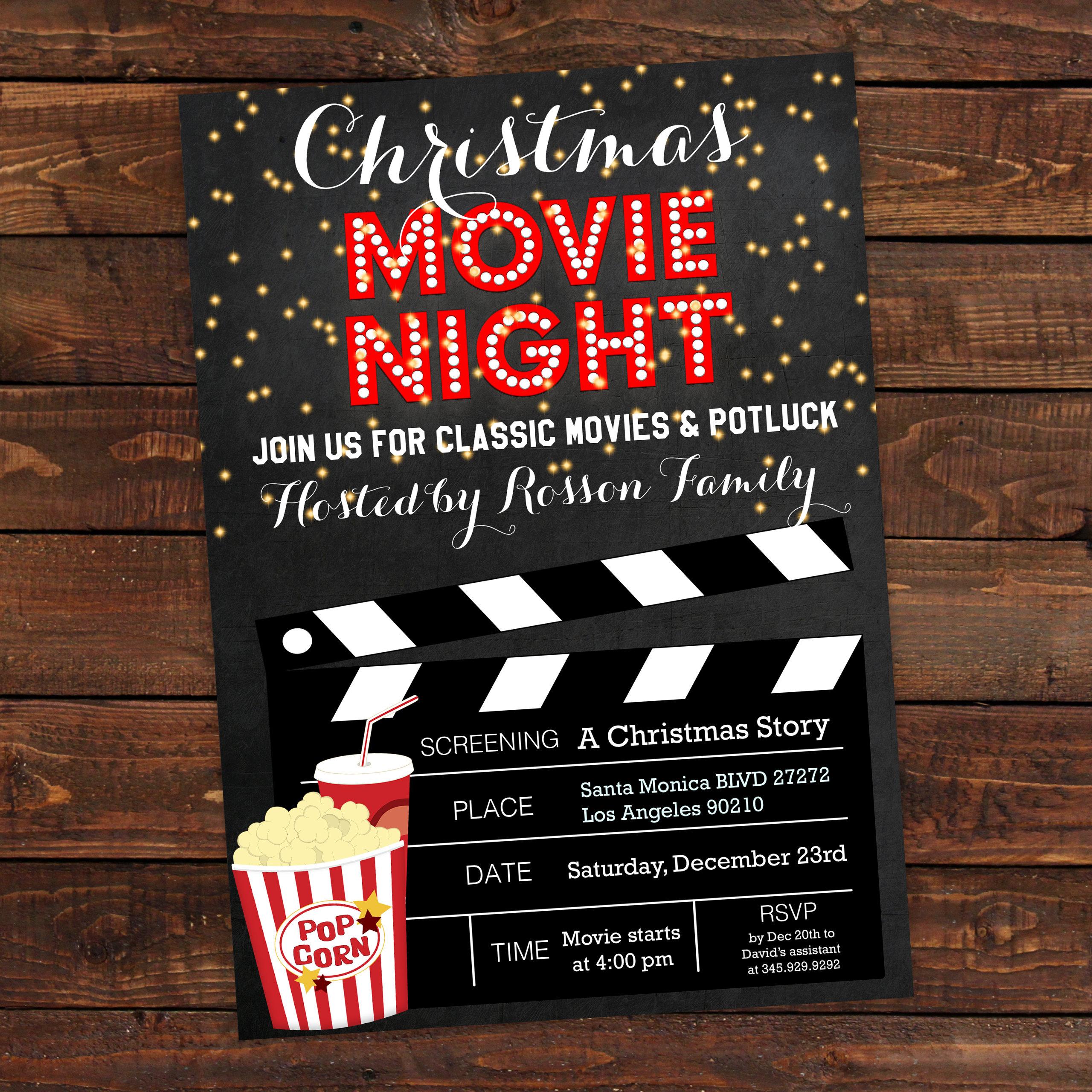 A Muppet Christmas Carol Movie Night: Christmas Movie Party Invitation Christmas Movie Night