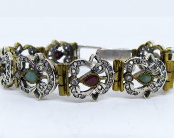 Antique Victorian Bracelet Filigree Bracelet Romantic Jewelry Handmade Jewelry  Floral Bracelet Original Emerald Stone