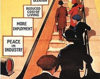 Vintage 1929 Conservative Party Escalator to Prosperity Poster A3/A2/A1 Print