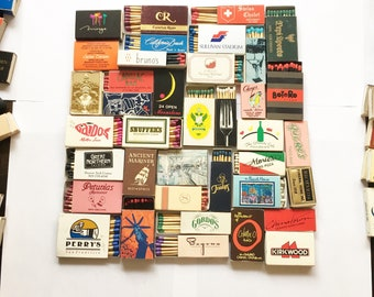 25 VINTAGE MATCH BOXES / matchbooks matches retro collection smoker wooden strike art advertisements
