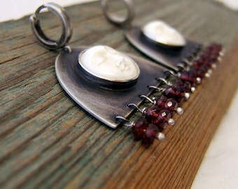 Sterling Silver Bone Garnet Earrings