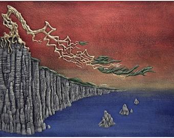 Scotch on the Rocks - Cast Paper - large pine tree - Windswept pine - cliffs - moors - Scottish - Scotland - Scots pine